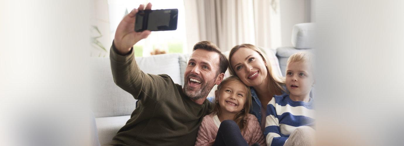 family having a selfie